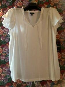Chaps Women's Top Plus Size 1X White Eyelet Lace Ruffle Sleeve Shirt NEW
