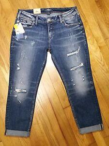 7c9f0c7e Silver Sam Boyfriend Slim Leg Jeans Mid Rise Distressed Medium ...