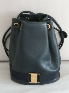 Image is loading Salvatore-Ferragamo-Navy-Vara-Logos-Texture-Leather-Mini- b78f4ccc9a55b