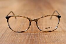 New CHANEL 3281 c1444 Striped Brown & Glitter Keyhole Eyeglasses 52-17 140 Italy