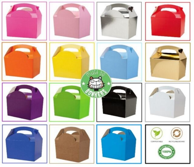 30 x Childrens/Kids Plain Coloured Carry Food Meal Birthday Party Loot Bag Boxes