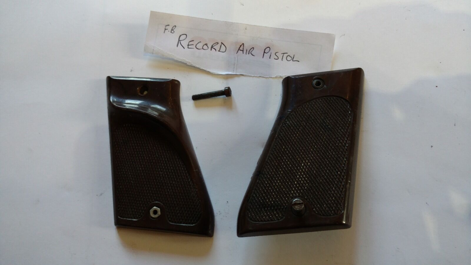 F B RECORD BROWN PLASTIC GRIPS WITH SCREWS