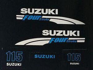 Suzuki 115 hp FourStroke Outboard Engine Decal Kit  MARINE VINYL white & Blue