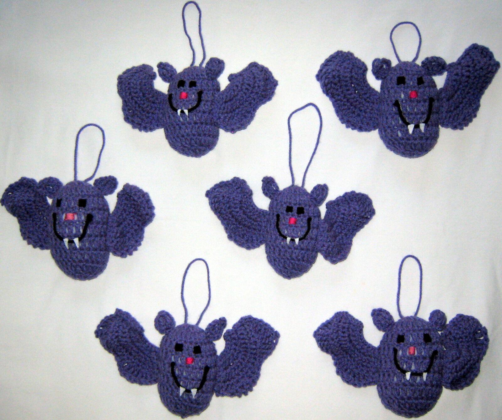 6 HANDMADE Knit CROCHET Hang BATS Kids TOY DOLL for HALLOWEEN Holiday CHRISTMAS