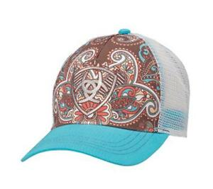 Ariat Womens Hat Baseball Cap Paisley One Size Blue Brown 1543827  95543bc3a86