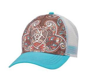 5d60374eba7c6 Ariat Womens Hat Baseball Cap Paisley One Size Blue Brown 1543827