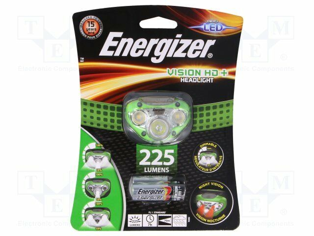 Torch  LED headtorch; waterproof; 6h; 200lm; Colour  green [1 set]
