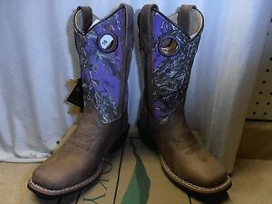 YOUTH Kids Leather Distressed Brown PURPLE CAMO Square Toe Cowgirl