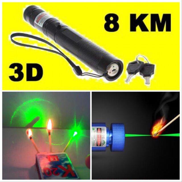 Laser Verde 303 1mw 532nm Puntatore Penna Regolabile + Star Luce Cap + Batteria
