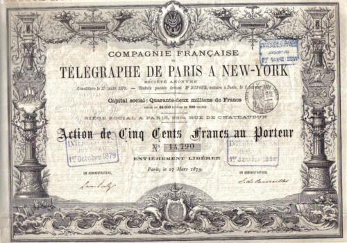 France USA Bond 1879 Telegraph Raris New York 500 fr Uncancelled Deco coupons