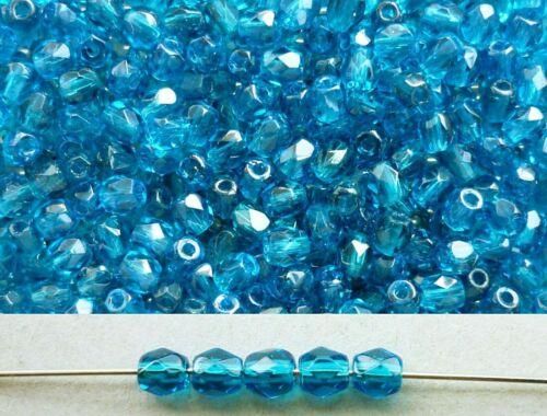 100x feuerpolierte Glasschliffperlen 3mm Blau Türkis transparent # 60080 Petrol