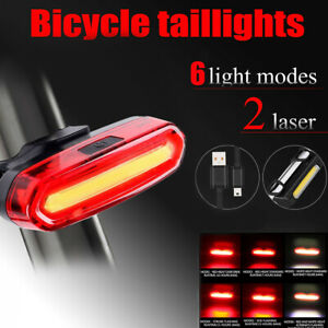 LED Bicycle Bike Cycling Rear Tail Light USB Rechargeable 6 Modes Warning Lamp