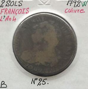 2-SOLS-FRANCOIS-LOUIS-XVI-1792W-L-039-AN-4-Piece-de-Monnaie-en-Cuivre