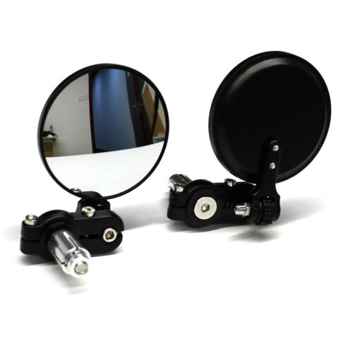 """BLACK MOTORCYCLE 7//8/"""" HANDLE BAR END SIDE MIRRORS FOR BOBBER CLUBMAN CAFE RACER"""