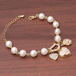 Women-Jewelry-Pearl-Love-Heart-Flower-Crystal-Bracelet-Bangle-Charm-Gift-Fashion