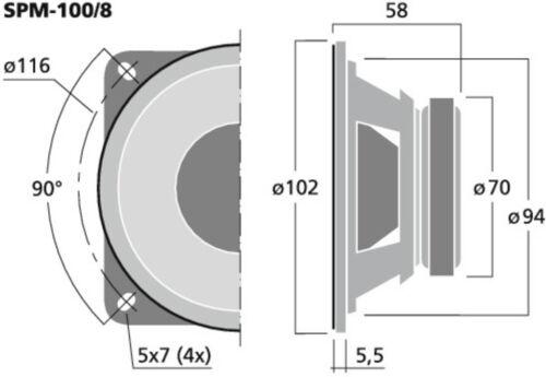 "2x Monacor 10cm 4/"" Mitteltöner 100mm Tiefmitteltöner SPM-100//8 PAAR"