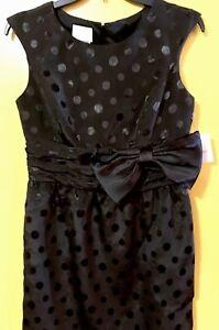 DONNA-MORGAN-Black-Polka-Dots-Sleeveless-Evening-Dress-W-Side-Pockets-Size-6