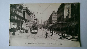 Vintage-Marseille-France-B-amp-W-Postcard-c1900s-Rue-Cannebiere-amp-Tram