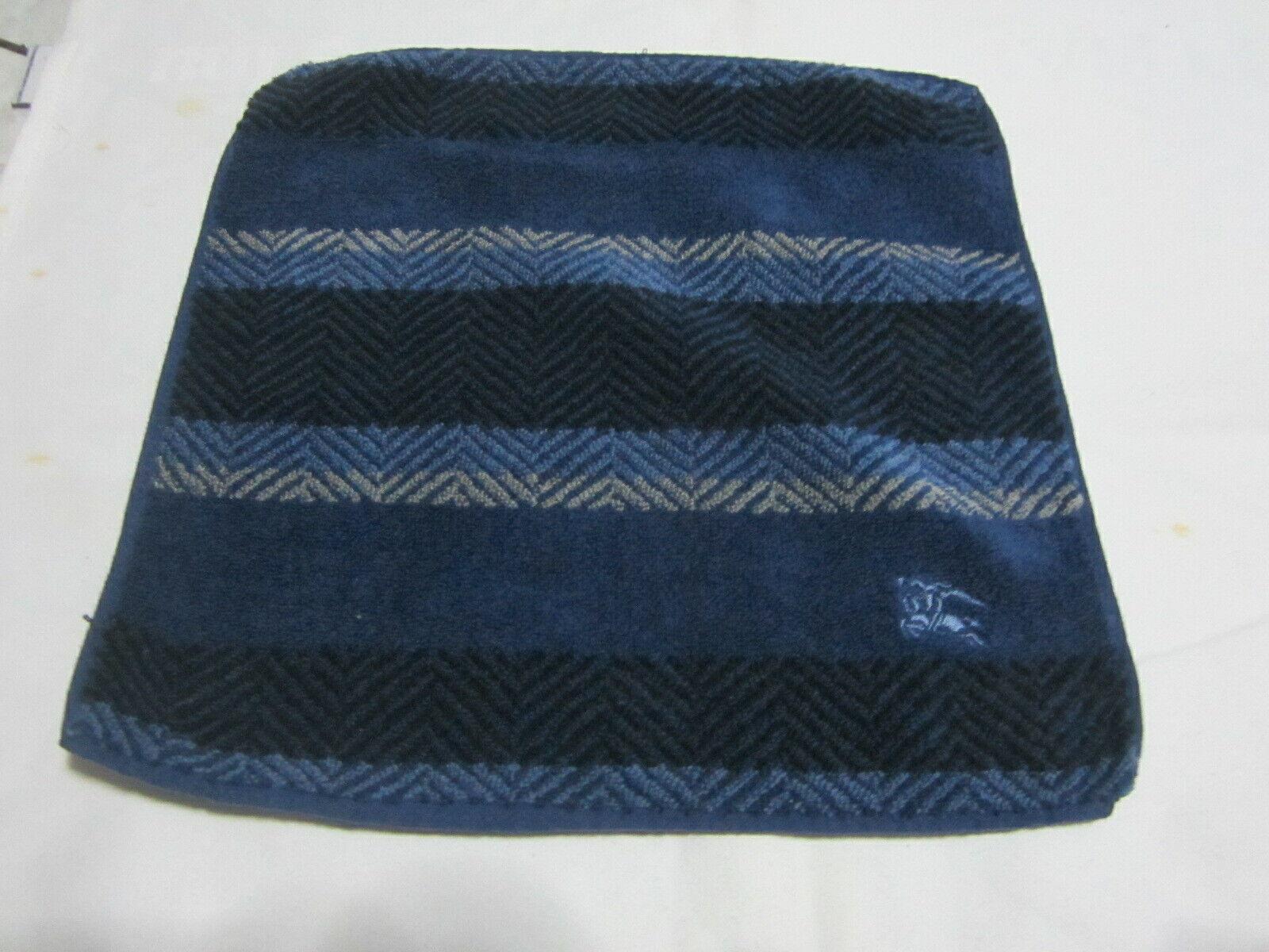 Used Small Face Towel Flannel Wash Cloth Designer Blue Nova Check 12