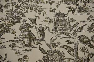 Waverly 100 Linen Asian Toile Print 55 Upholstery Drapery Fabric