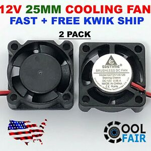 4 Pcs 12V 25mm Mini Cooling Fan 2510 25x25x10mm 2-pin DC Small Micro Cooler