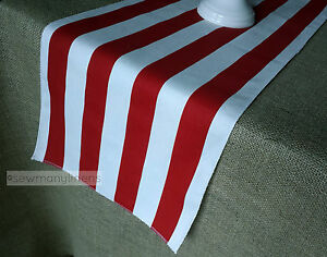 Red Table Runner Red and White Stripe Dining Room Home Decor Party Linens
