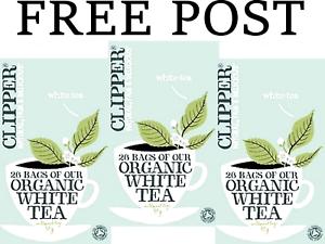 3-x-26-tea-bags-CLIPPER-TEAS-Organic-White-Tea-78-tbags-FREE-POST