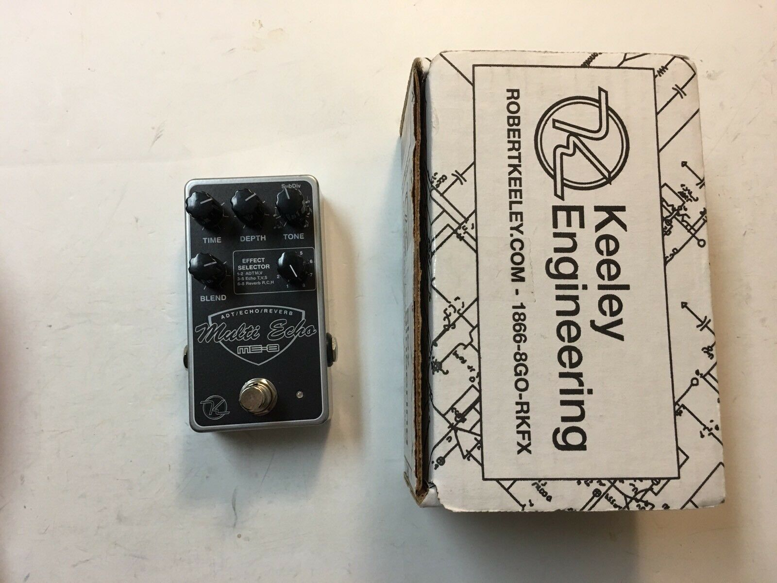 Keeley Electronics ME-8 Multi Echo ADT Echo Reverb Guitar Effect Pedal With Box