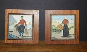 Vtg-Hand-Crafted-High-Relief-Art-Tile-Mounted-on-Walnut-Wood-Wall-Hanging-Board