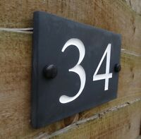 Deep Engraved Honed Natural Slate House Number Sign Plaque HIGH QUALITY 15x10cm