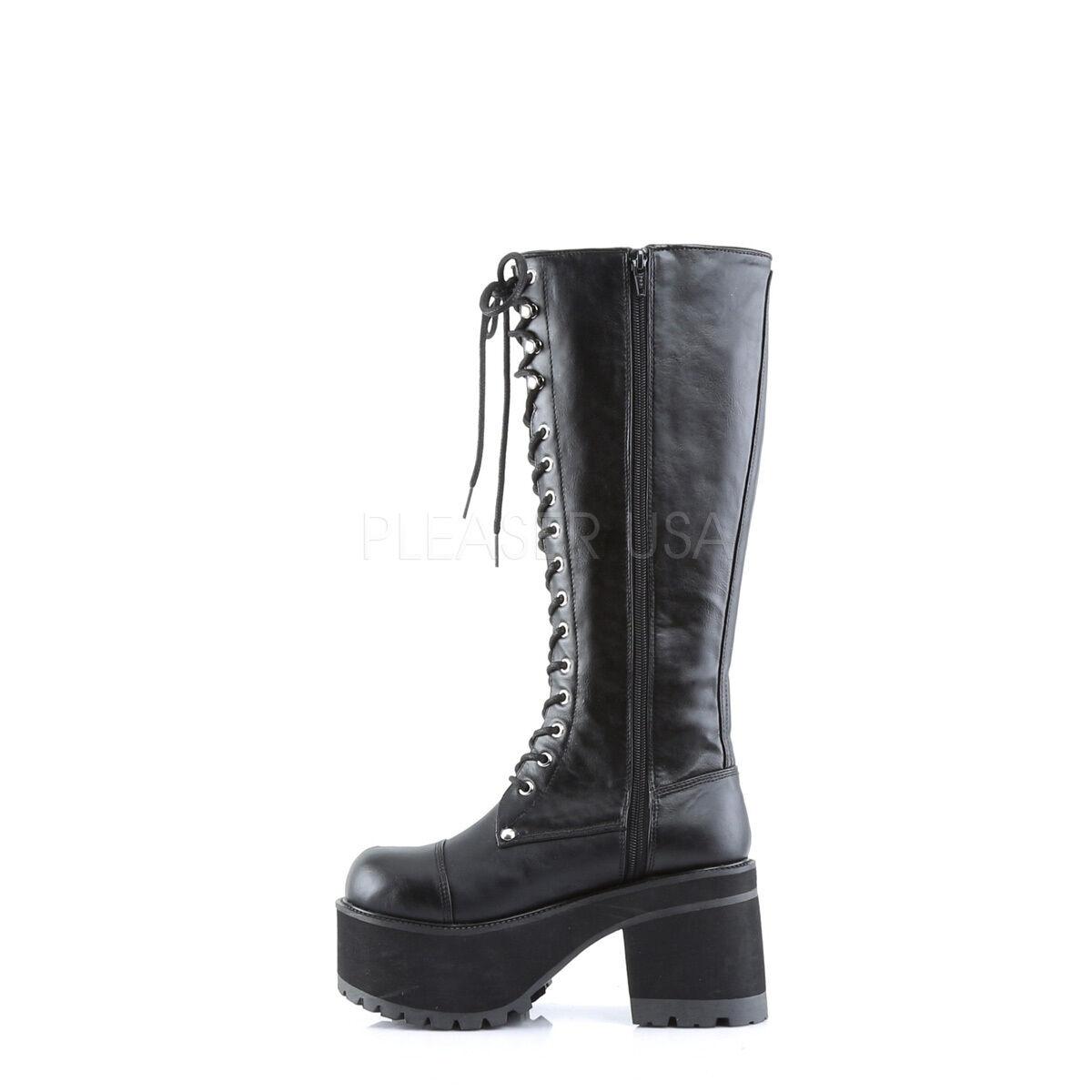 Demonia ran302 b b b pu Para Mujer Gothic Industrial Militar Plataforma Negro Rodilla botas 8b21f6