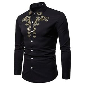 Mens-Business-Dress-Shirts-Long-Sleeve-Embroidered-Turn-Down-Collar-Tops-Fashion