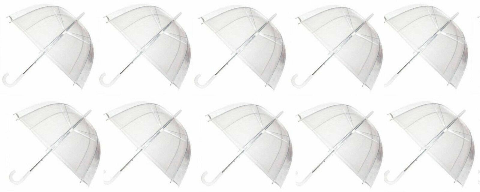 10x Set Rain Umbrellas Dome Birdcage Transparent PVC Wedding Brolly Clear Bubble