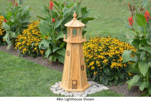 """Available in 20 Colors! 48/"""" Tall Amish-Made Wooden Lighthouse with Lighting"""