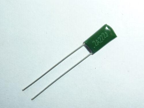 20PCS 100V 0.0022uF 2.2nF 2200pF 2A222J ±5/% Mylar Film Capacitors Radial
