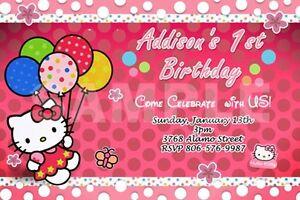HELLO KITTY BIRTHDAY PARTY INVITATION 1ST CUSTOMIZABLE FIRST