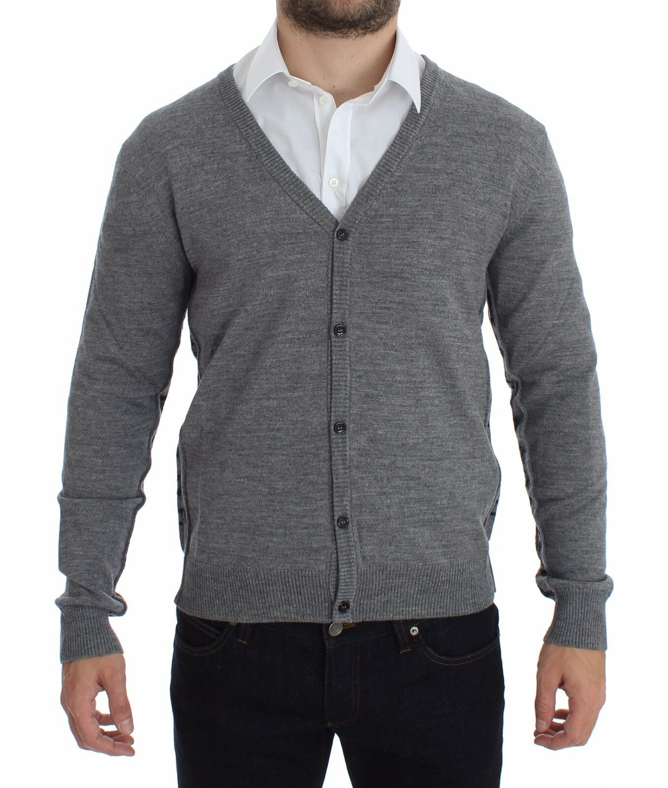 NEW 360 GALLIANO grau Wool Button Down Logo Cardigan Sweater Pullover Top s. XL
