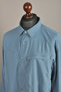 Men-039-s-TNF-THE-NORTH-FACE-Casual-Shirt-Nylon-Checked-Blue-Long-Sleeve-Size-XL