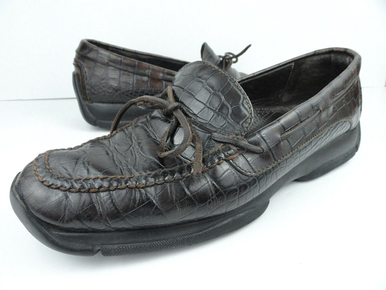 Cole Haan Country 11 M Brown Croc Print Leather Moc Driver Boat Loafer shoes Men