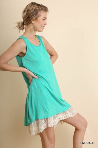 UMGEE Emerald Green Sleeveless Lace Hemline Knit Dress USA Boutique