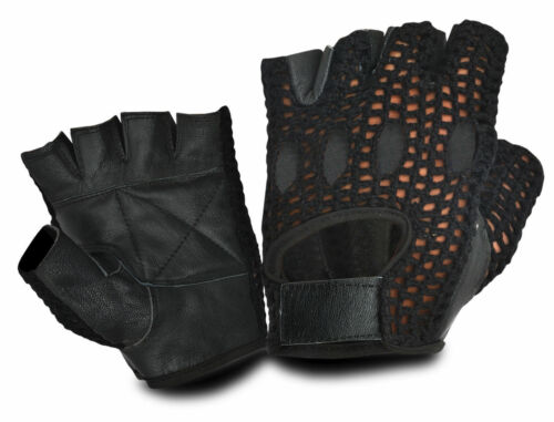 REAL LEATHER FINGER LESS WEIGHT LIFTING BUS DRIVING GLOVES VINTAGE RETRO STYLE