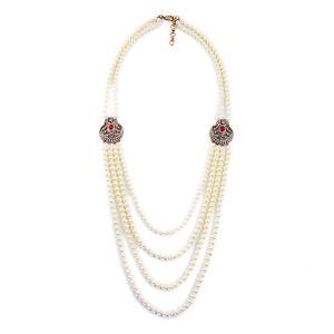 Necklace-Long-Golden-Multi-Four-Row-Pearl-White-Art-Deco-Red-Retro-AZ-1