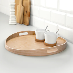 IKEA-Round-Serving-Tray-Food-Breakfast-Kitchen-Coffee-Tea-Table-Handle-Wood-44cm