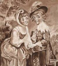 YOUNG BOY & GIRL VICTORIAN Watercolour Painting c1870