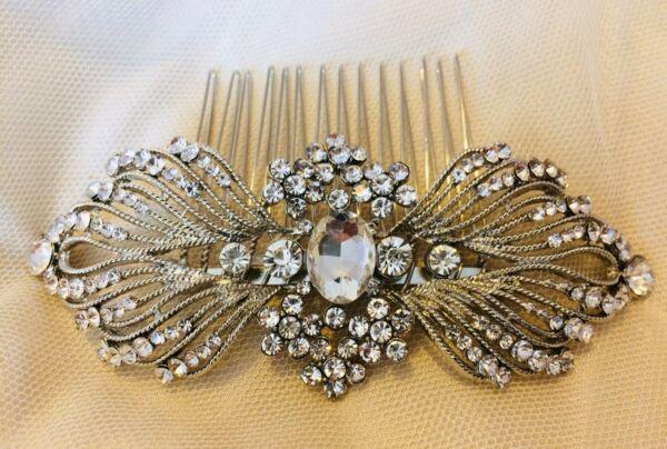 """""""scarlett"""" Art Deco Vintage Style Crystal Nuziale Capelli Pettine Anni 1920 Matrimonio Avere Uno Stile Nazionale Unico"""