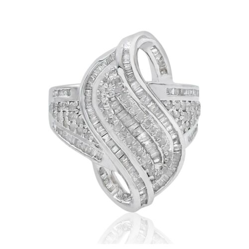 1.23 CT Corte Baguette Natural Diamante Blanco Remolino cóctel anillo de plata esterlina