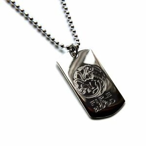 925-Sterling-Silver-Fire-And-Blood-Targaryen-Game-Of-Thrones-Dog-Tag-amp-Chain