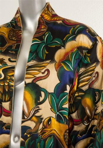 10 Paul multi louis Orrier kristal print verfraaid jasje L Vintage vogel color XuwOilZTPk
