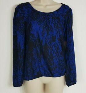 NWT-Heartsoul-sz-small-colbalt-blue-and-black-long-sleeve-blouse-with-cowl-back