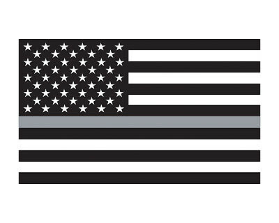 """5/"""" Skull American Thin SILVER Line BW Subdued Corrections Guard Sticker Decal"""